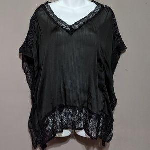 Black sheer blouse w/ lace
